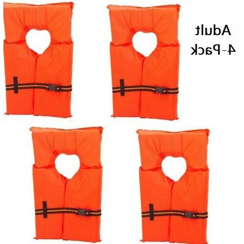 Life Jacket Vest Preserver 4 Pack Type II Orange Adult Fishi