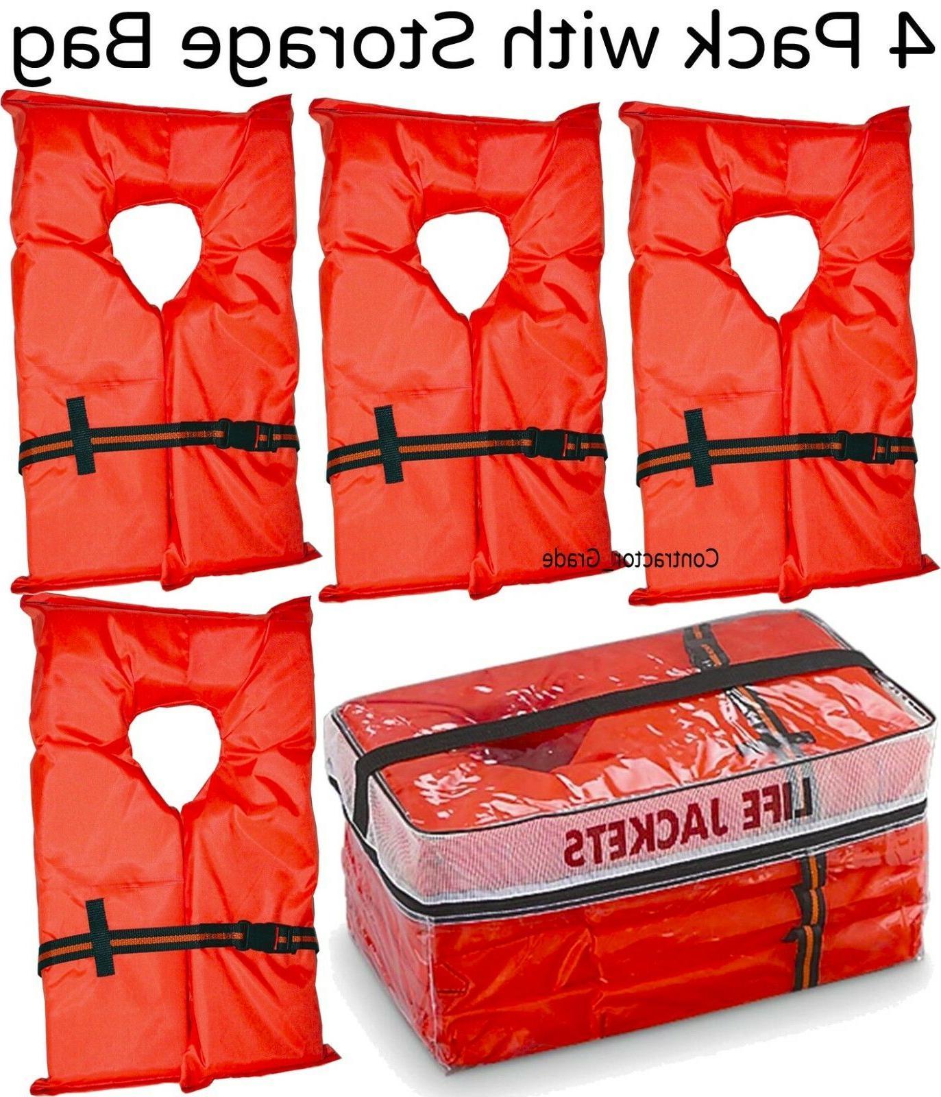 Life Vest Preserver 4 Pack Type Orange USCG PFD