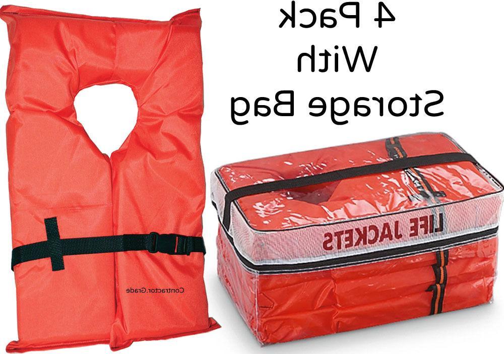 Life 4 Pack Type Orange Adult Fishing USCG