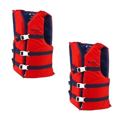 Life Jackets 2 Red Adult Type III Universal Boating Vest Pre
