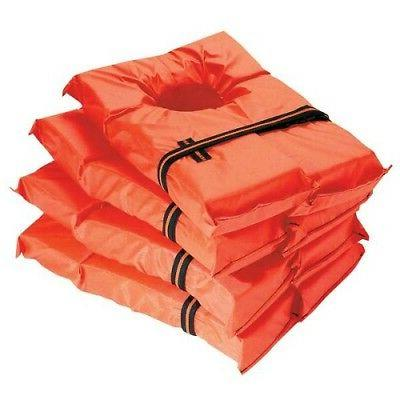 Life Jackets 4 Pack Vest Preserver Orange Type II Adult Fish