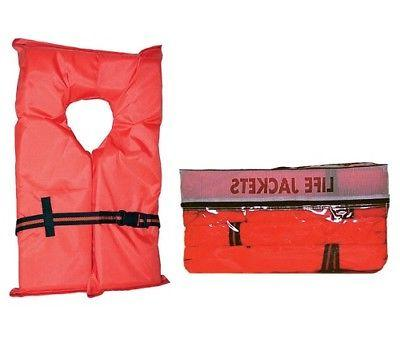 Life Jackets Vest 4 Pack Type Adult Orange Boating Jacket