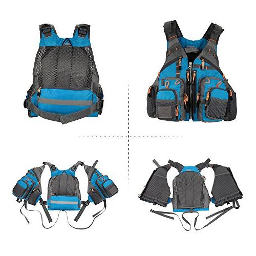 Lixada Fly Fishing Vest,Fishing Safety Jacket Breathable Polyester Mesh Vest for Boating Kayak Floating