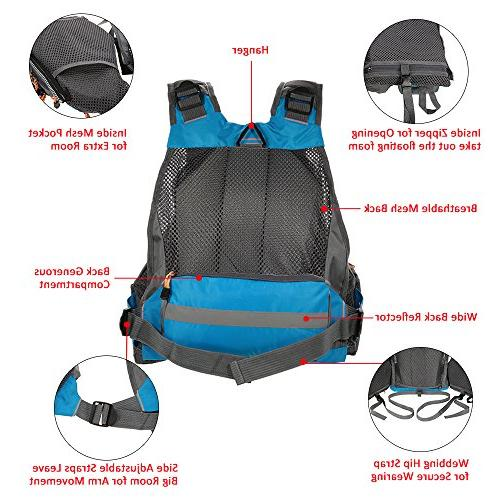 Lixada Fly Fishing Vest,Fishing Safety Polyester Fishing Vest for Swimming Boating Floating