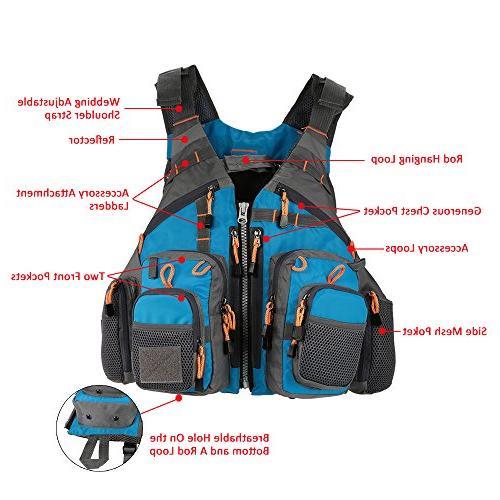 Lixada Fly Fishing Vest,Fishing Safety Life Jacket Polyester Mesh Design Vest for Swimming Boating Floating