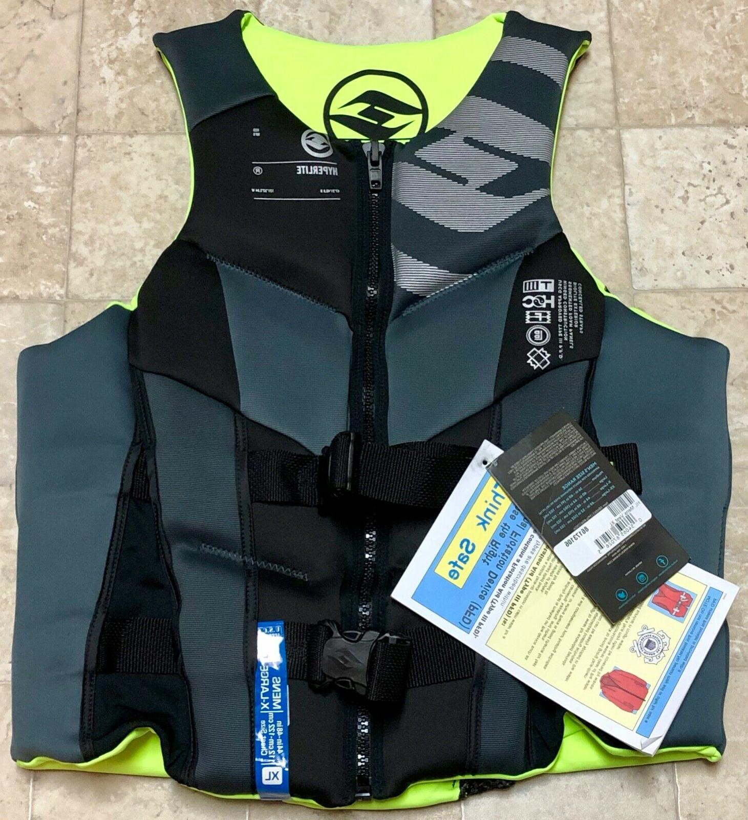 black infinity antimicrobial mens life jacket wakeboard