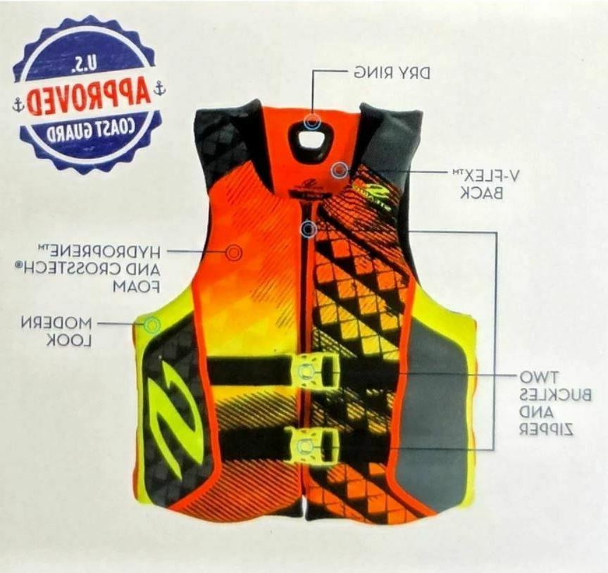 NEW Mens XXL Black Orange Life Jacket Wakeboard