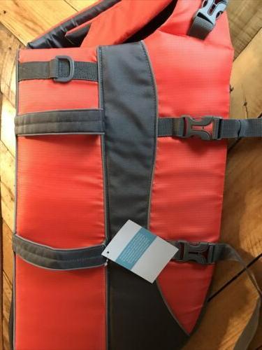 nwt orange and gray dog life jacket