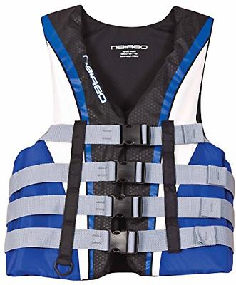O'Brien Men's 4 Buckle Nylon Pro Life Vest Blue/White/Black,