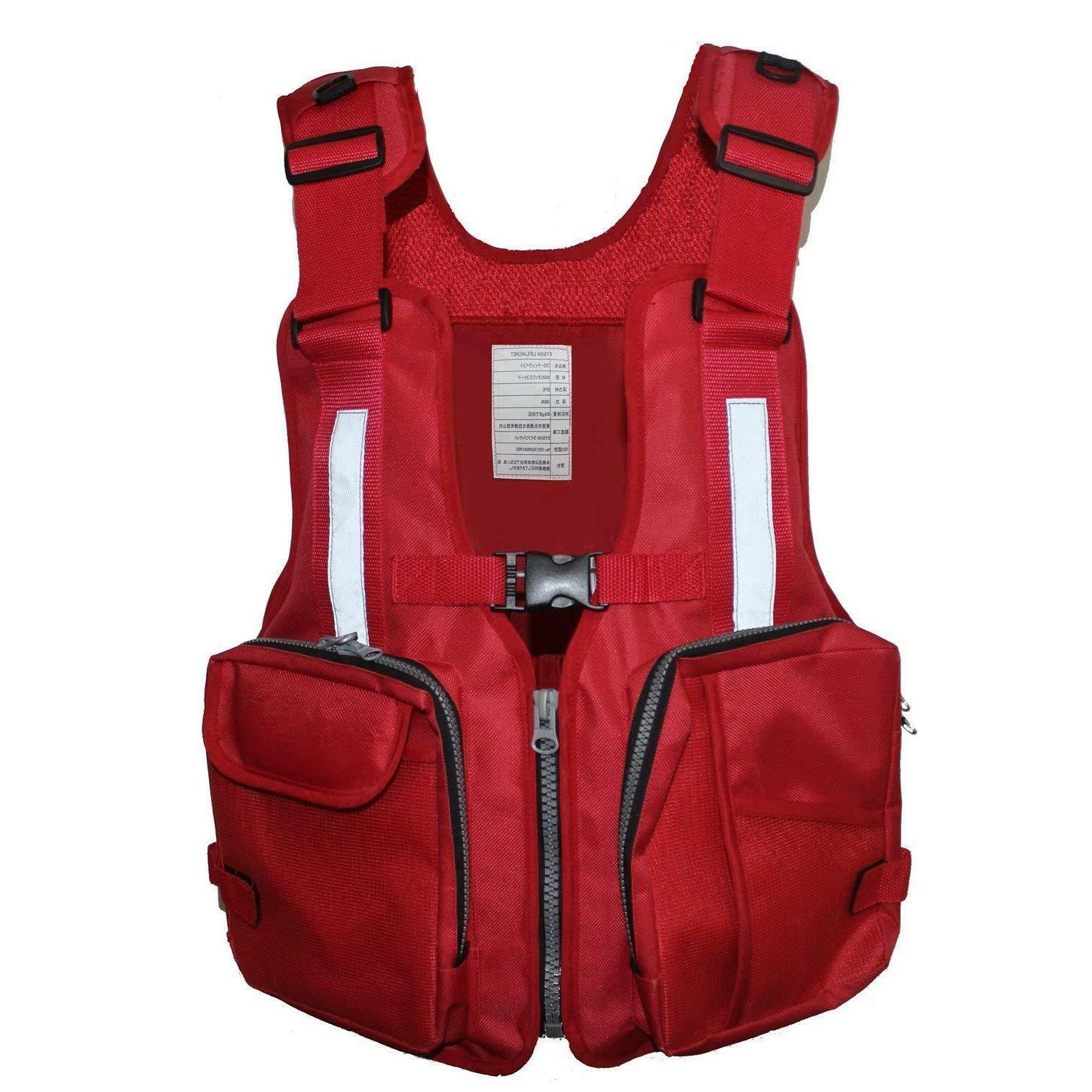 outdoor fishing and boating life jacket red
