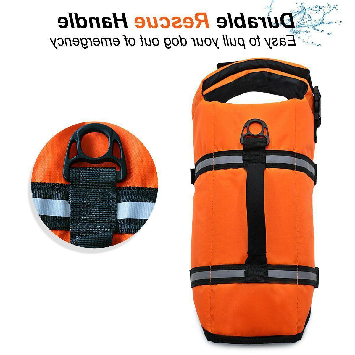 Pet Dog Jacket Swimming Safety Reflective Stripe Handle