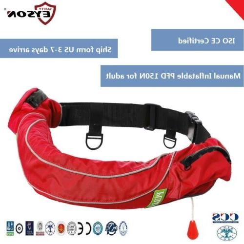 pfd manual inflatable life jacket waist pack