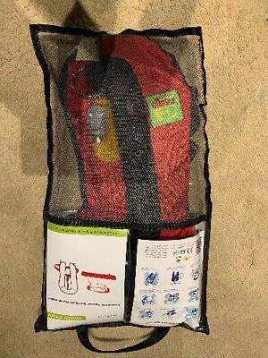 survival manual inflatable pfd life jacket red