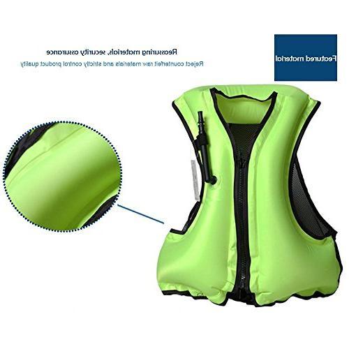 Leegoal Life Jacket Adult Inflatable Swim Buoyancy Aid Snorkeling, Suitable Blue