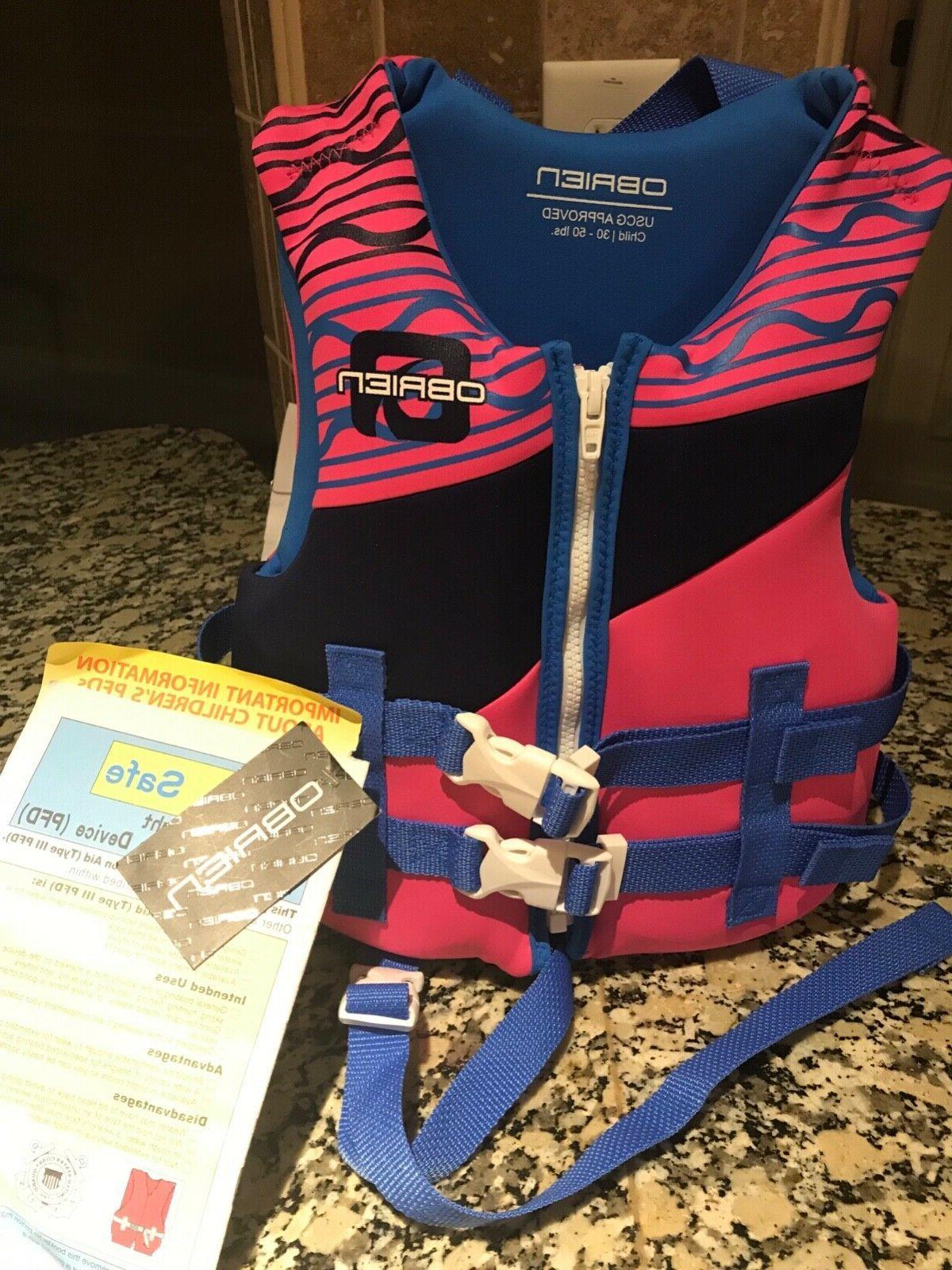 uscg obrien neoprene life jacket for child