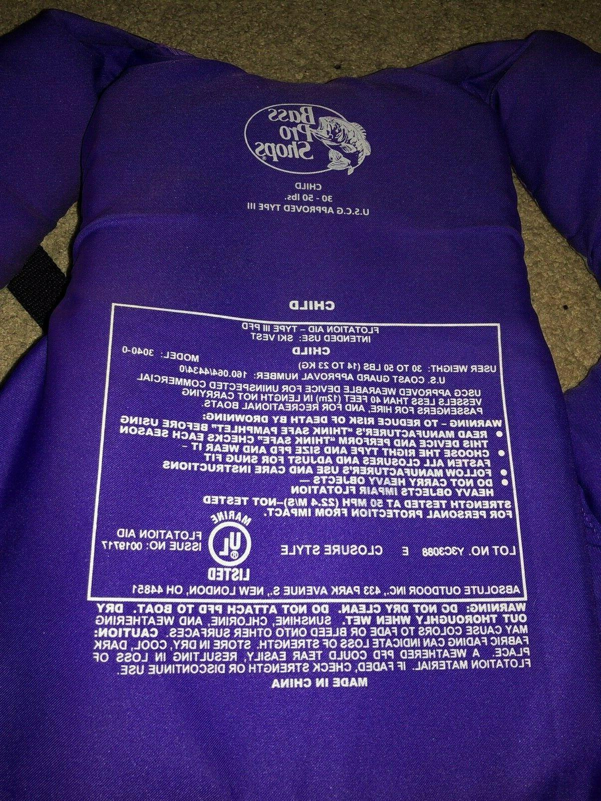 Youth Type 3 30-50 Purple Preserver Ski Vest Bass Shops