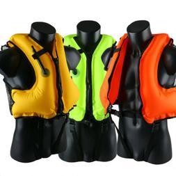 Life Jacket Inflatable Snorkeling Vest Zip Adult Swimming Fi