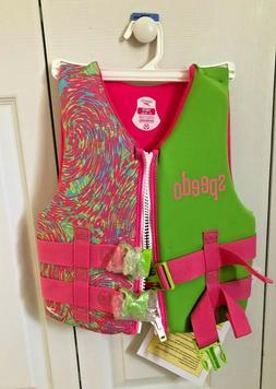 Speedo girls life jacket neoprene flotation device 50-90 lbs