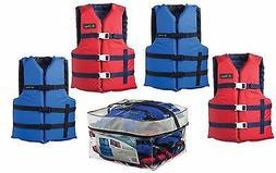 Adult Life Jacket Preserver 4-Pack Red & Blue USCG Type III