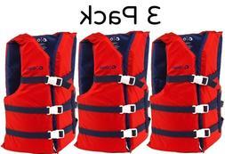 Adult Life Jacket Preserver 3-Pack Red USCG Type III Fishing