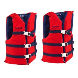 Adult Life Jacket Preserver 2-Pack Red USCG Type III Fishing
