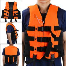 Life Jacket Vest Adult Kids With Whistle 3 colors Fully Encl