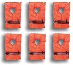 Adult Life Jackets Vest Preserver Type II 6 Pack Orange Fish