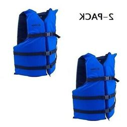 Life Jackets 2 Blue Adult Type III Universal Boating Vest Pr