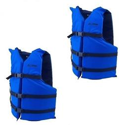 Life Jackets 2 Blue Adult Type IlI Boating Vest Preserver Un