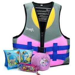 Genwiss Life Jackets for Girls Neoprene Child Life Vest Purp