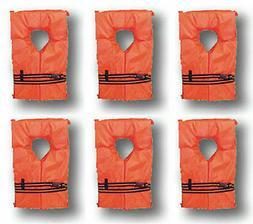 Life Jackets Vest Preserver Type II 6 Pack Orange Adult Fish
