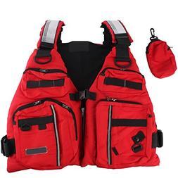 BINKBANG Life Vest, Red Adult Watersport Boating Vest Swimmi