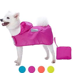 "Blueberry Pet 4 Colors 16"" Lightweight Packable Hooded Dog R"