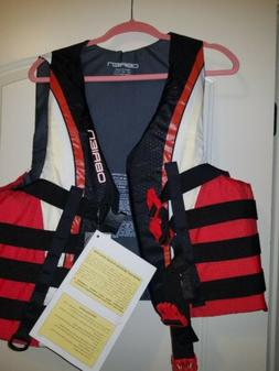 MENS O'BRIEN BLACK AND RED WATER SKI LIFE JACKET VEST SIZE X