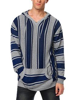 COOFANDY Mens Mexican Baja Pullover Sweater Striped Woven Ho