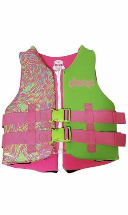 NWT Speedo-Neoprene Life Jacket Youth Girls 50-90lbs FREE SH