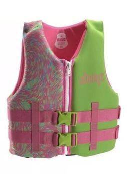 NWT! Speedo Youth Girl Pink/Green Neoprene Life Jacket Vest