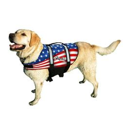 Pawz Pet Products Nylon Dog Life Jacket American Flag with Q