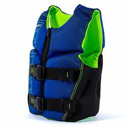 O'Brien Flex V-Back Youth USCG Vest Life Jacket, Blue & Lime
