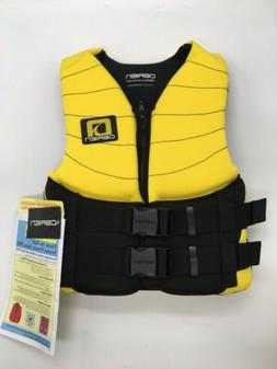 O'Brien Youth Life Jacket Black Yellow 50 to 90 lbs Zipper W