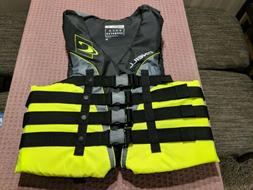 O'Neill XL Extra Large Neon Black Life Jacket Vest Wakeboard