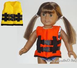 "Orange or Yellow Life Jacket Vest fits 18"" American Girl Siz"