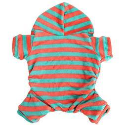 Pet Costume HCFKJ Pet Padded Thickening Striped Coral Velvet