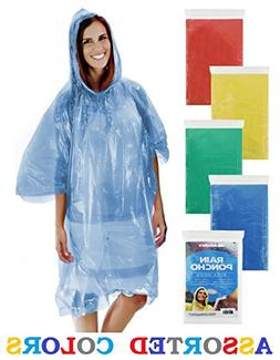 Wealers Emergency Disposable Rain Poncho - 5 Color Assortmen