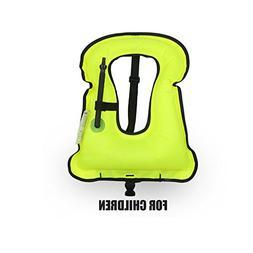 Rrtizan Children Portable Inflatable Life Jacket Snorkel Ves