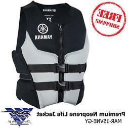 Yamaha Premium Neoprene Life Jacket Vest Black Pfd MD LG XL