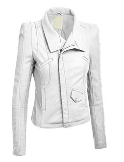 Blue sail Womens Quilted Biker Jacket,X-Large,Wjc793_White