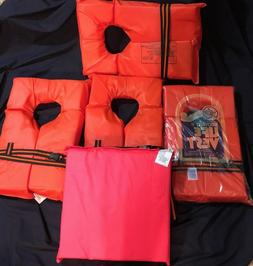 Set 4 Life Vests Jackets & Boat Cushion Kent Boating Safety