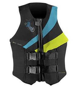 O'Neill Women's Siren USCG Life Vest, Black/Day-Glo/Turquois