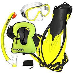 Promate Snorkeling Vest Jacket Mask Fins DRY Snorkel Gear Se